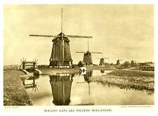 Document ancien moulins dans les polders Hollandais Cl Ambassade