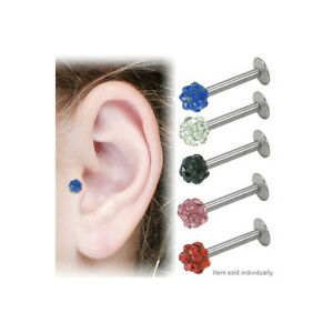 Labret Tragus Earring Surgical Steel Jeweled