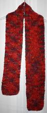 New Handmade Knitted Red Boucle Textured Woman's Scarf