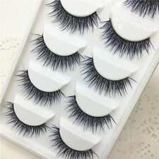 5Pairs Long Handmade False Eyelashes Black&Purple Lashes Extension Cross