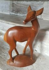 Beautifully Carved Quality Hard Wood Deer Bambi Antelope Statue Ornament