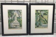 2 Leonora Quarterman Prints Savannah Georgia, Factors Walk, Midway Church
