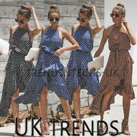 UK Womens Frill Polka Dot Midi Dress Ladies Asymmetric Christmas Party Dress
