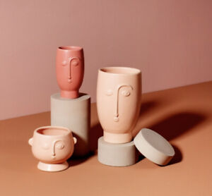 Sass & Belle Abstract Face Planter Vase Indoor Plant Pot Gift Plaster Pink
