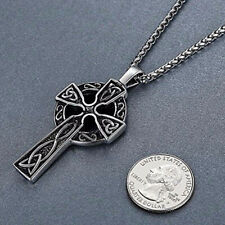 """Stainless Steel Celtic Cross Irish Knot Pendant Necklace, 24"""" Link Chain"""