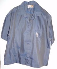 NOS 50s IOLANI HAWAII Iridescent Blue +Crest SHIRT JAC Loop Collar ROCKABILLY XL