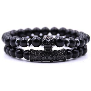 Fashion Men Bracelet 8mm Black Hematite Beads CZ Skull Charm Bracelets Gift