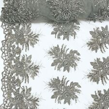"""Silver Bridal Gloriosa floral Lace Sequins Beaded Scallop Fabric Dress 52"""" BTY"""