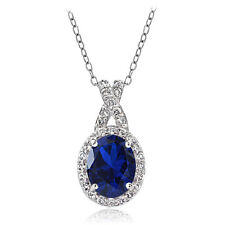 Sterling Silver Created Blue Sapphire & White Topaz Oval X Necklace