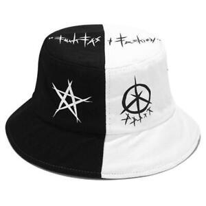 Unisex Black White Color Block Bucket Hat Star Eye Graffiti Print Fisherman Cap