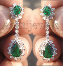 1.01ct Diamond Emerald 14k White Gold Awesome Evergreen Engagement Earrings