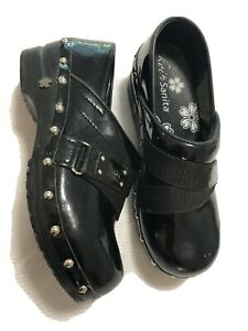 Koi By Sanita Black Slip On Nursing Clogs Shoes Women's Size 37 US 6.5-7