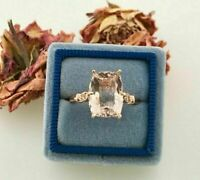 3Ct Cushion Cut Morganite Solitaire Engagement Ring 14k White Gold Finish