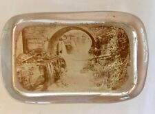 Rare Antique Vintage Paperweight - country scene - sepia