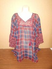 New Plus Size Blouse Size 3X Petite Top Catherines Plaid Sheer 26-28WP Career