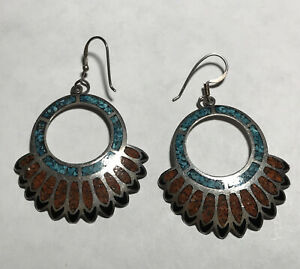 Navajo Sterling Silver Crushed Turquoise Coral Earrings HeadDress Feather Design