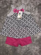 Nwt Kids Headquarters Girl Sz 4T 2 Piece Set Black Pink White Floral Outfit