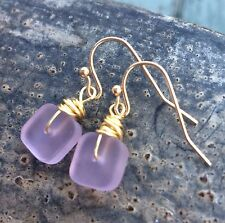 Min Favorit Pink Sea Glass Square Bead & Gold Pl Artisan Drop Earrings