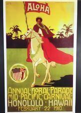 VINTAGE 1910 REPRO Parade Mid-Pacific CARNIVAL Poster Honolulu HAWAII Pau Rider