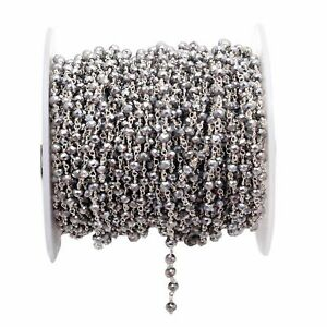 3 Feet Silver Pyrite Hydro Beads Rosary Beaded Chain Silver Plated Wire 3-4mm