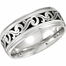 Size 10 - Comfort Fit 14k White Gold and Enamel Swirl Wedding Band 7.0mm Wide