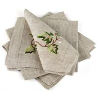 "Table Napkins / Set of 4 / Gray / Ivy / 16""x16"" / 100% European Linen"