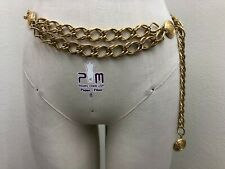 Gold Tone Crest LC Medallion Chain Link Womens Belt ~ S 32 1/2
