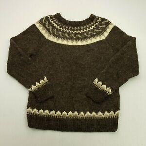 RETRO Womens Vintage Nordic Norwegian Pullover MEDIUM  Lambswool Sweater Jumper