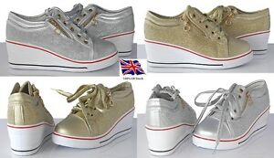 Womens-Ladies Wedge Sneakers Lace Up Ankle Boots Silver&Gold NEW* UK STOCK