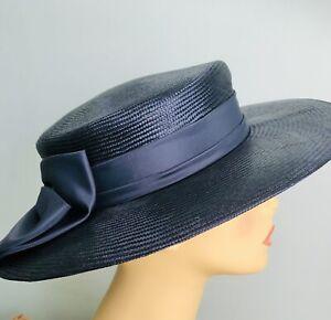 Ladies Dark Navy Blue Formal Occasion Hat Large Back Bow Wedding Church MOB