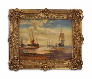 9973272-ds Oil Painting/Wood in the Wood/Resin-Gold Piece Frame Ships on Shore