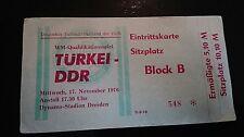 Ticket 17.11.1976 DDR Türkei Türkiye WM Quali Länderspiel Dresden Eintrittskarte