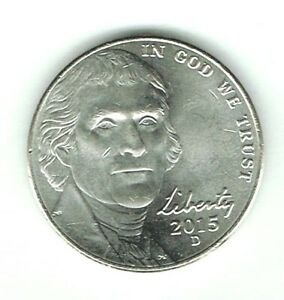 2015-D Denver Uncirculated Jefferson Nickel Five Cent Coin!