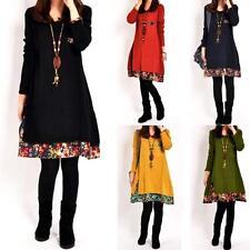 Ladies Cotton Floral Trim Tunic Autumn Dress Winter Top Vintage Women size 8 -16