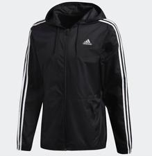 New $65 mens ADIDAS Essentials 3 Stripes full zip training wind jacket Black