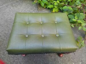 Vintage Green vinyl buttoned footstool, Queen Anne  legs