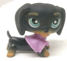 Authentic Littlest Pet Shop LPS #325 Black Dachshund Dog Toy Figure Pink Jacket