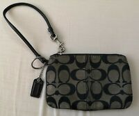 COACH Women's Vintage Brown Signature Print Wristlet Pouch Used Condition