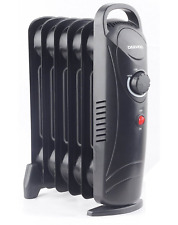 Daewoo Elphine 800W Portable Oil Filled Radiator Heater with Thermostat - BLACK