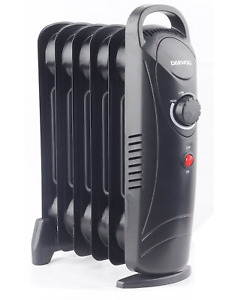 Elphine 800W Portable Oil Filled Radiator Heater with Thermostat - BLACK