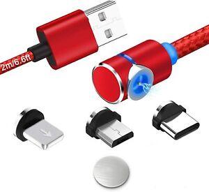 Magnetisches Nylon Ladekabel Lightning, USB C oder Micro USB 90 Grad