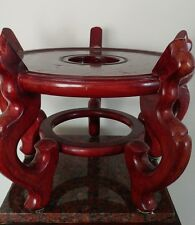 """Vintage Chinese Wood Stand With Legs For Large Vase/ Jordanaire Diameter 11.5 """""""