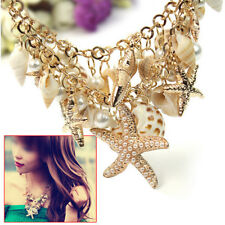 Fashion Faux Pearl Jewelery Chunky Sea Shell Starfish Bib Statement Necklace