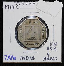 1919-C British India 4 Annas Fine Circulated KM 519