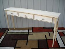 """Unfinished 60"""" Sofa, Console, Shaker Style Tapered Leg Pine table w/3 drawers"""