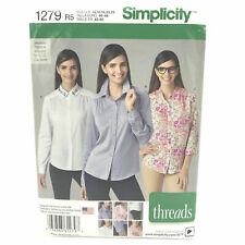 Simplicity 1279 Misses Plus Size Shirts Button Down Collared 14 22 Uncut Pattern