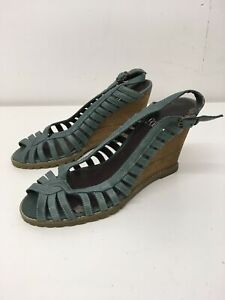WOMENS FAITH GREEN/GREY LEATHER STRAPPY BUCKLE STRAP HIGH WEDGE HEEL SANDALS UK4