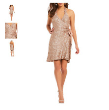DRESS THE POPULATION DANIELLE SEQUIN WRAP ROSE GOLD DRESS sz  M