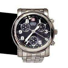 Wenger 79200U Swiss Military Army Chronograph Watch Men's Stainless Steel Black