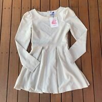 New Cameo Fit & Flare Cream Dress Long Sleeves Cut Out Cocktail Party Size 10